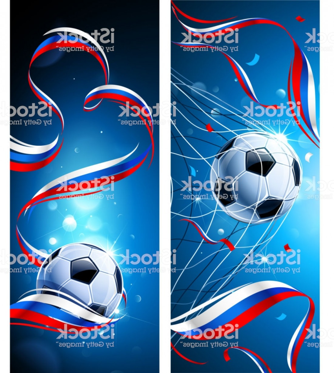 Soccer Blue Background Vector Graphics: Banners Soccer Ball With Flag Of Russia Vector Gm