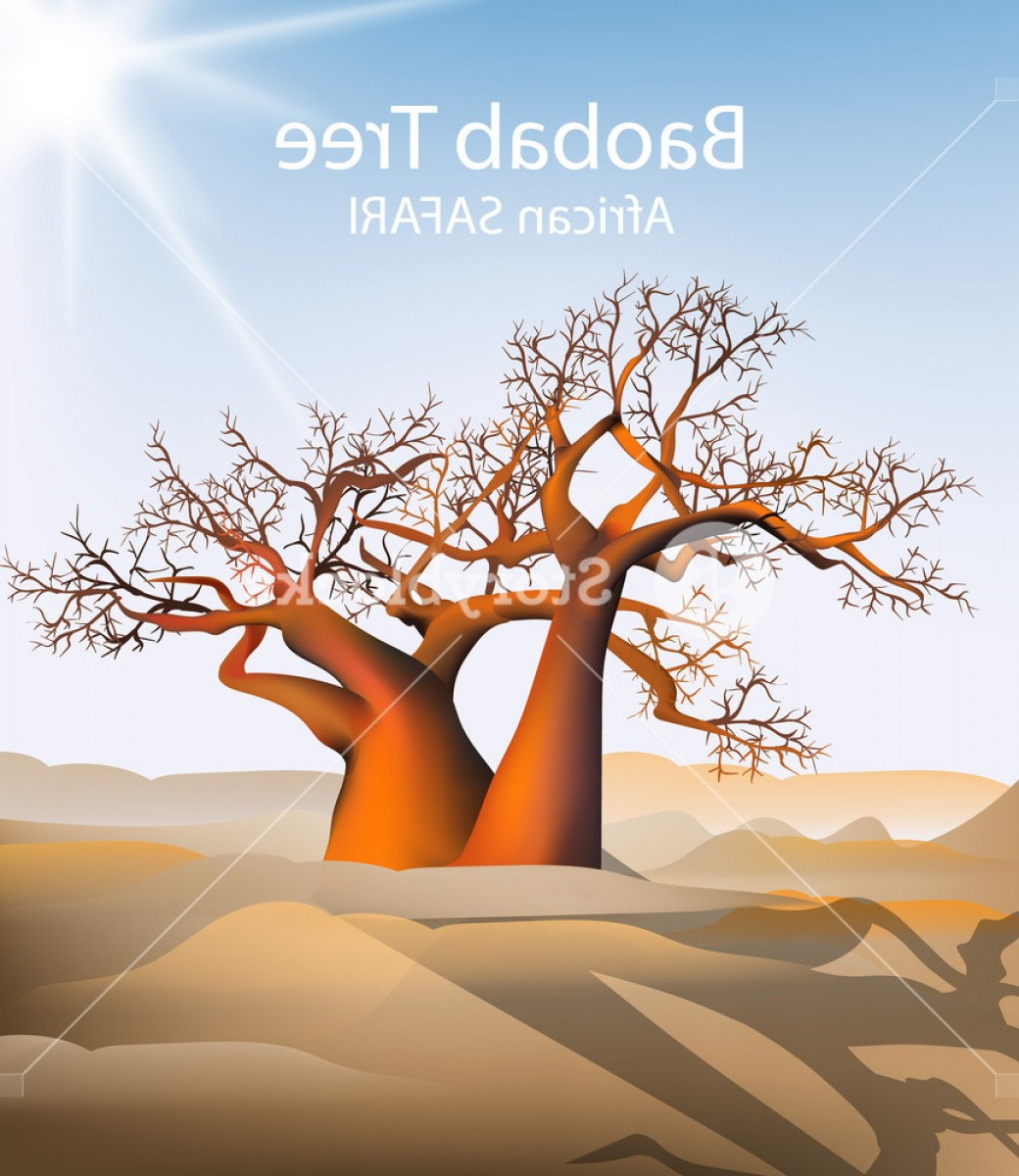 Sand Dune Silhouettes Vectors: Baobab Tree Vector Safari Background Hot Sunny Day And Sand Dunes Illustration Botrubejikrj