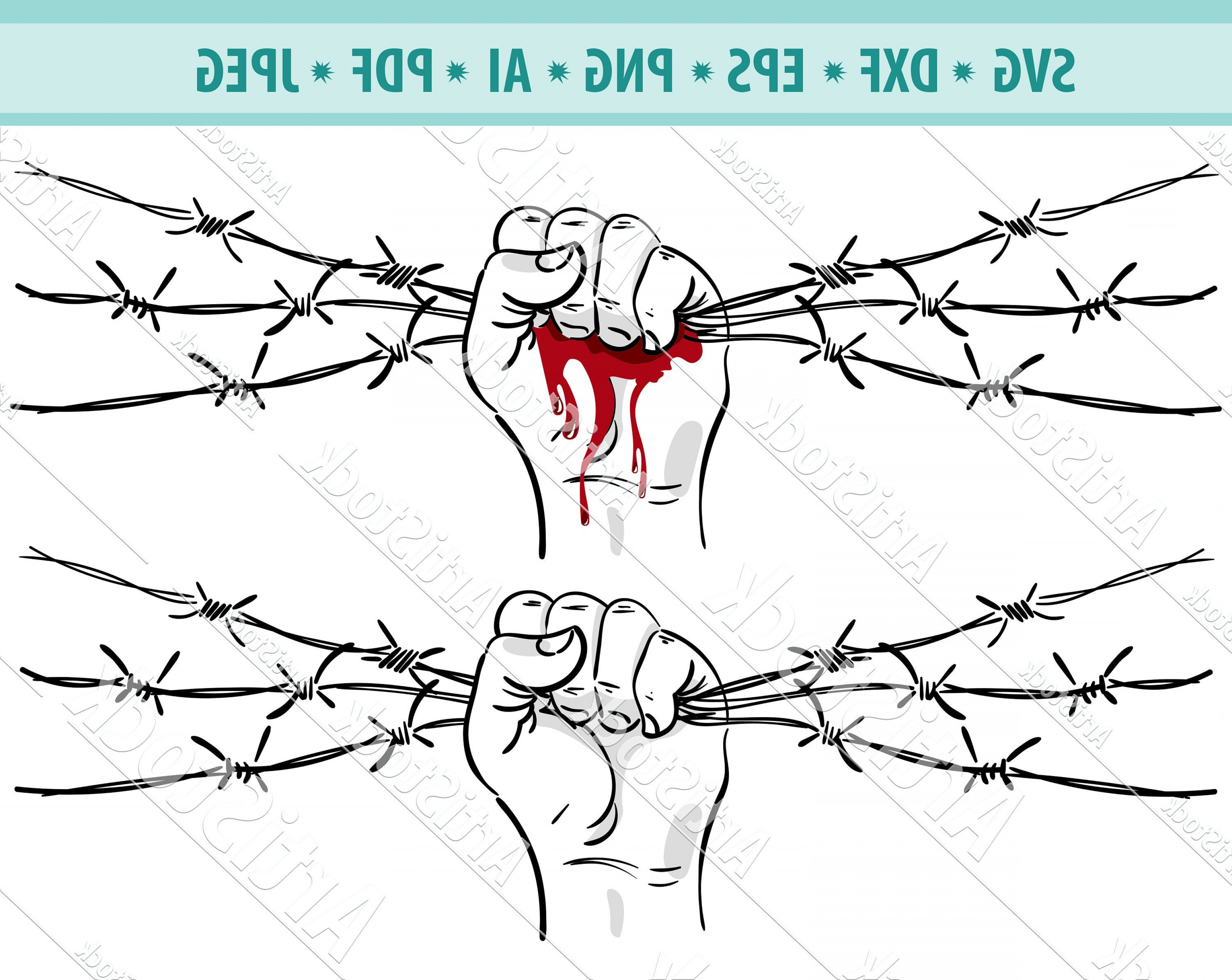 Fence Post Barbed Wire Vector Clip Art: Barbed Wire Svg Straight Razor Barb