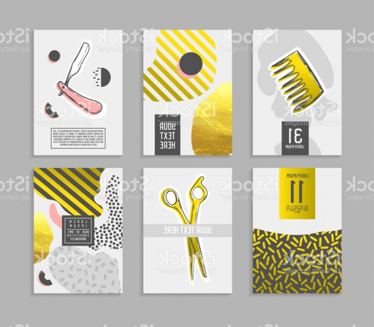 Golden Barber Vector: Barber Shop Abstract Posters Set With Golden Glitter Elements Hipster Style Covers Gm