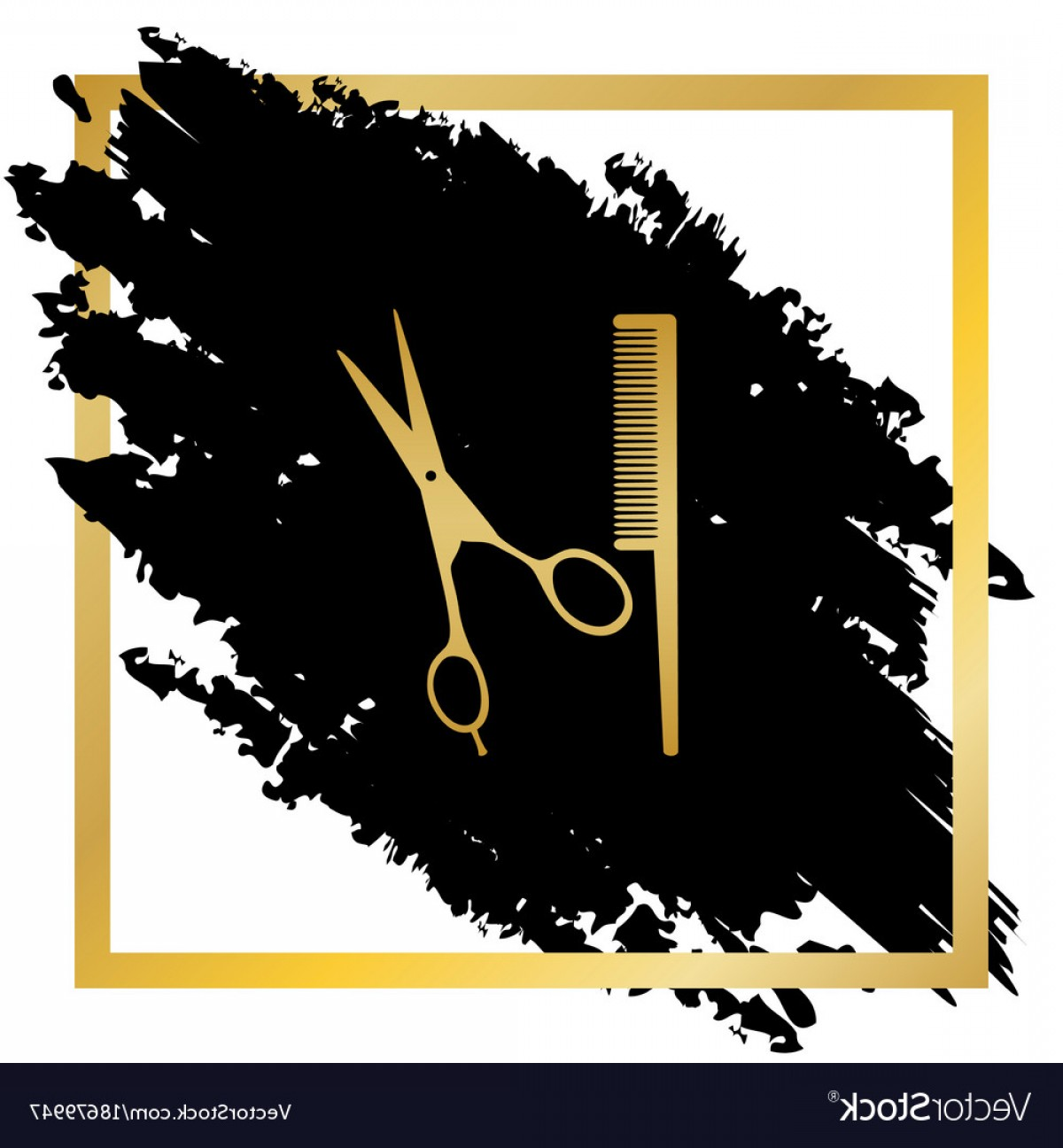 Golden Barber Vector: Barber Shop Sign Golden Icon At Black Vector