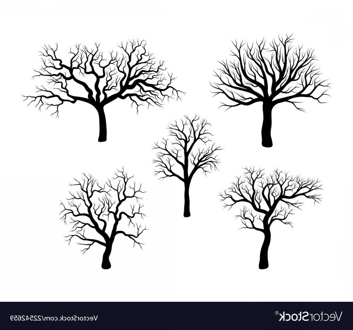 Winter Tree Silhouette Vector: Bare Tree Winter Set Design Isolated On White Vector