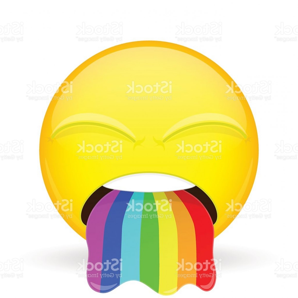 Rainbow Face Emoji Vector: Barf Emoji Emotion Of Disgust Spew Rainbow Emoticon Gm
