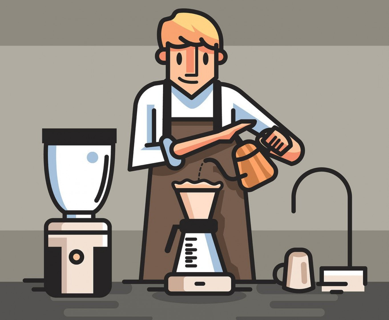 Apron Vector: Barista In Brown Apron Vector