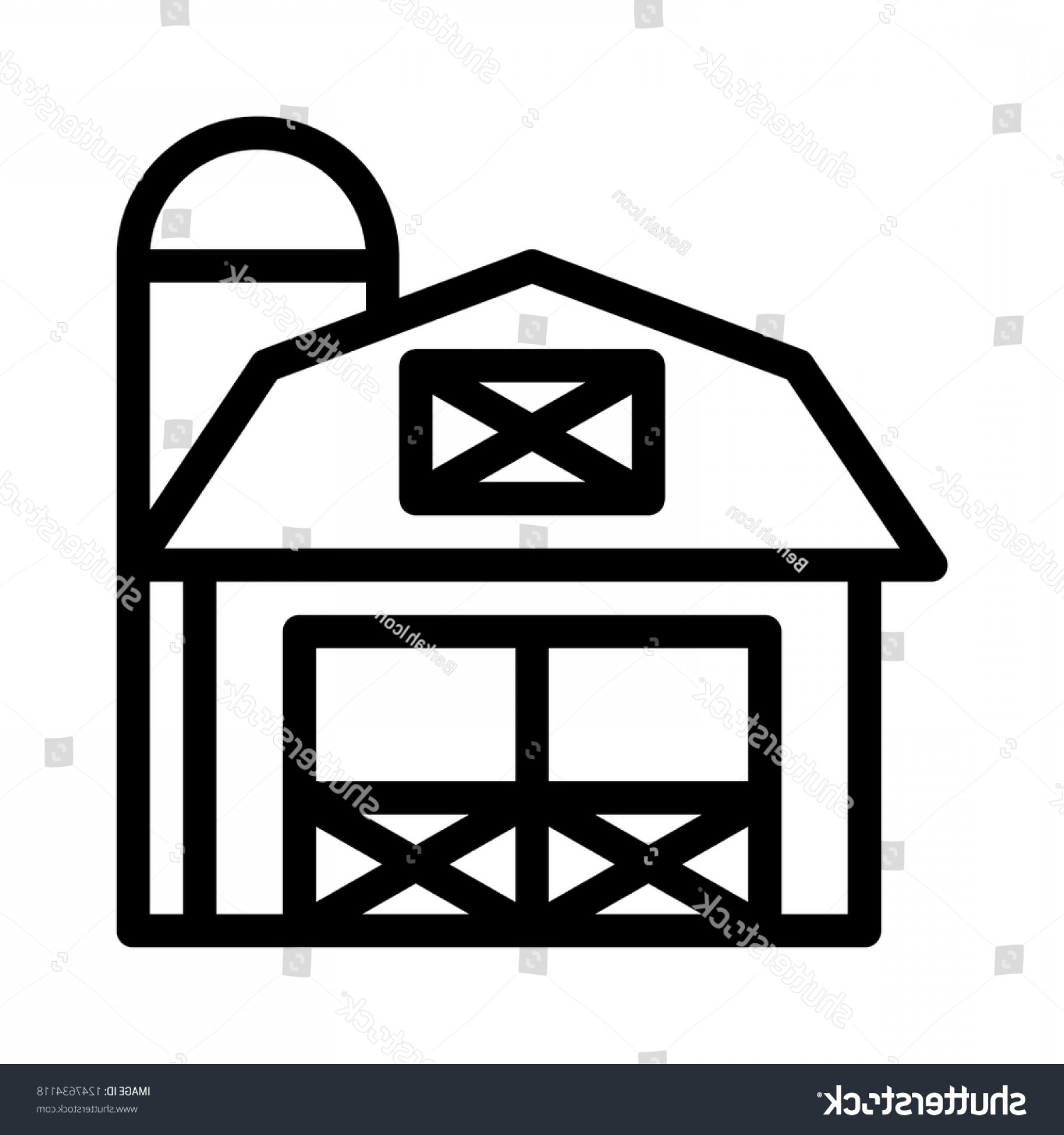 Barn Outline Vector: Barn Building Icon Outline Vector