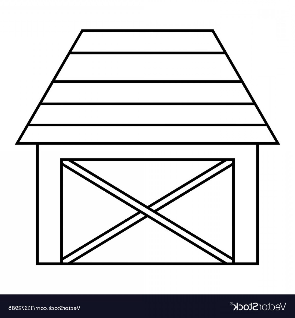 Barn Outline Vector: Barn For Animals Icon Outline Style Vector