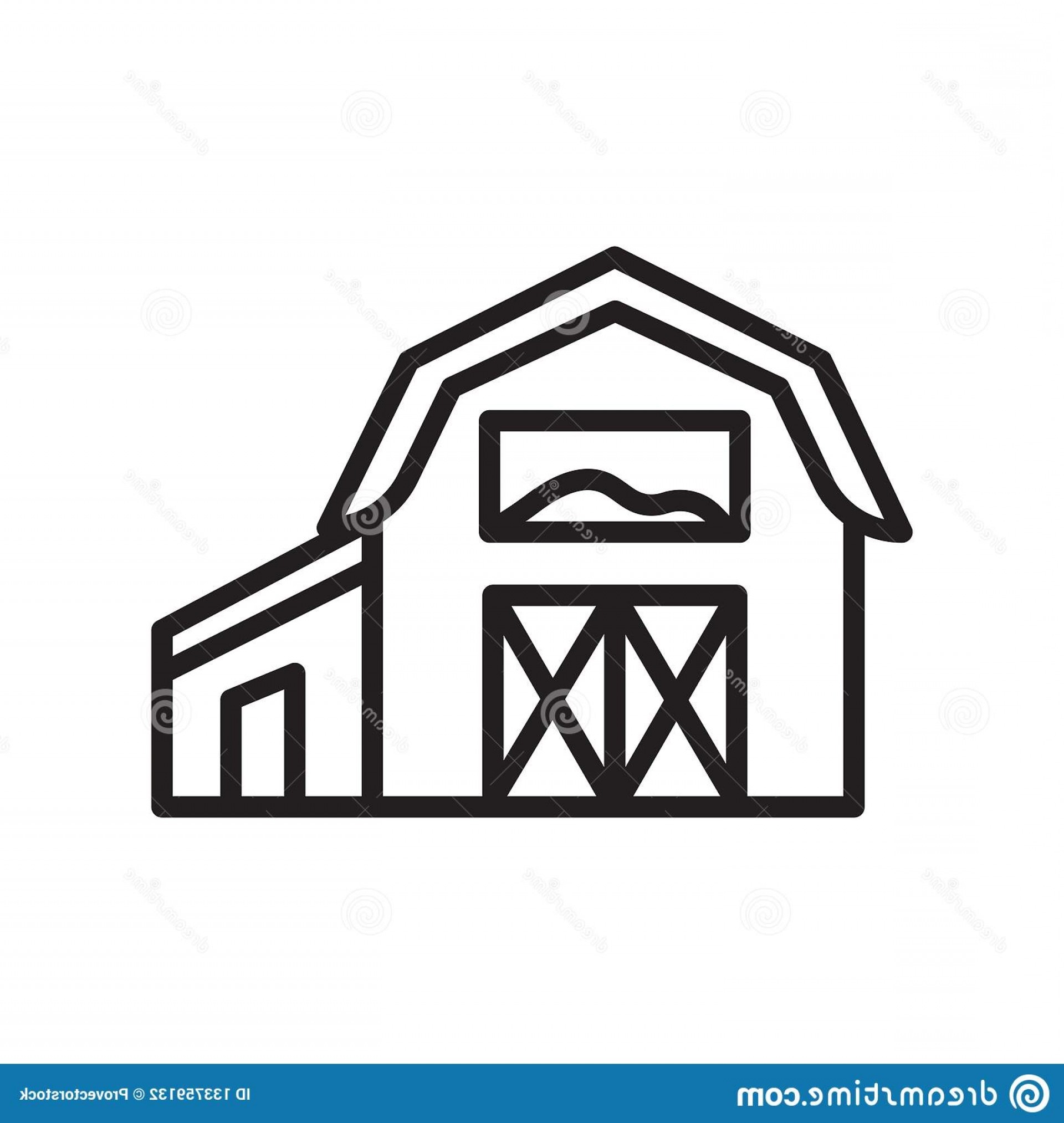 Barn Outline Vector: Barn Icon Vector Sign Symbol Isolated White Background Logo Concept Outline Linear Your Web Mobile App Design Image