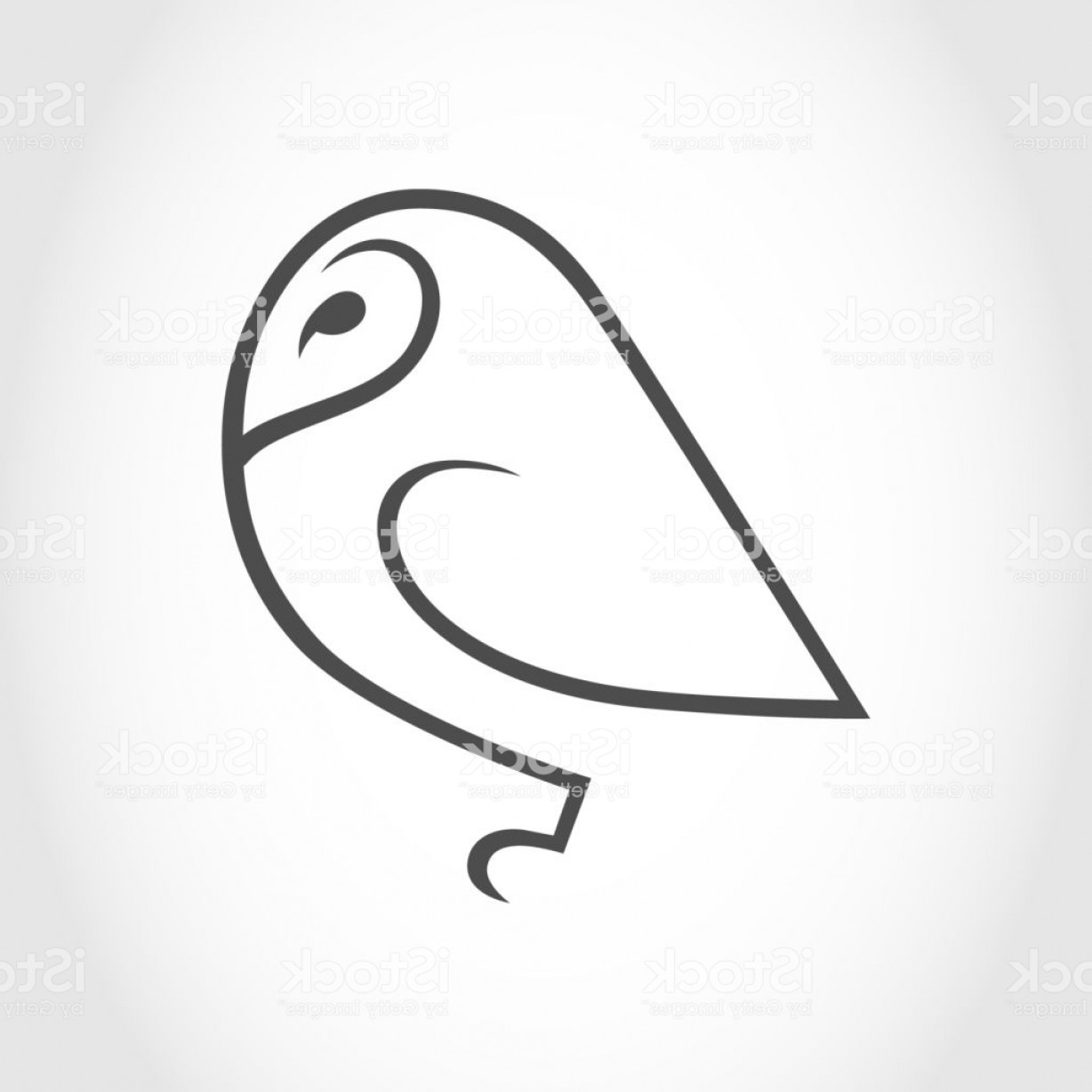 Barn Outline Vector: Barn Owl Symbol Icon Outline Design Element Gm