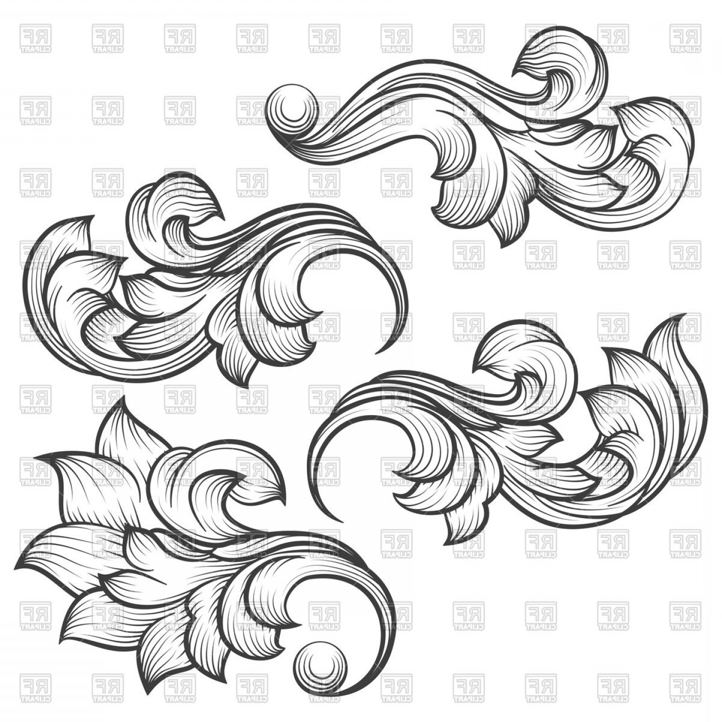 Baroque Vector Clip Art: Baroque Engraving Leaf Scroll Vector Clipart