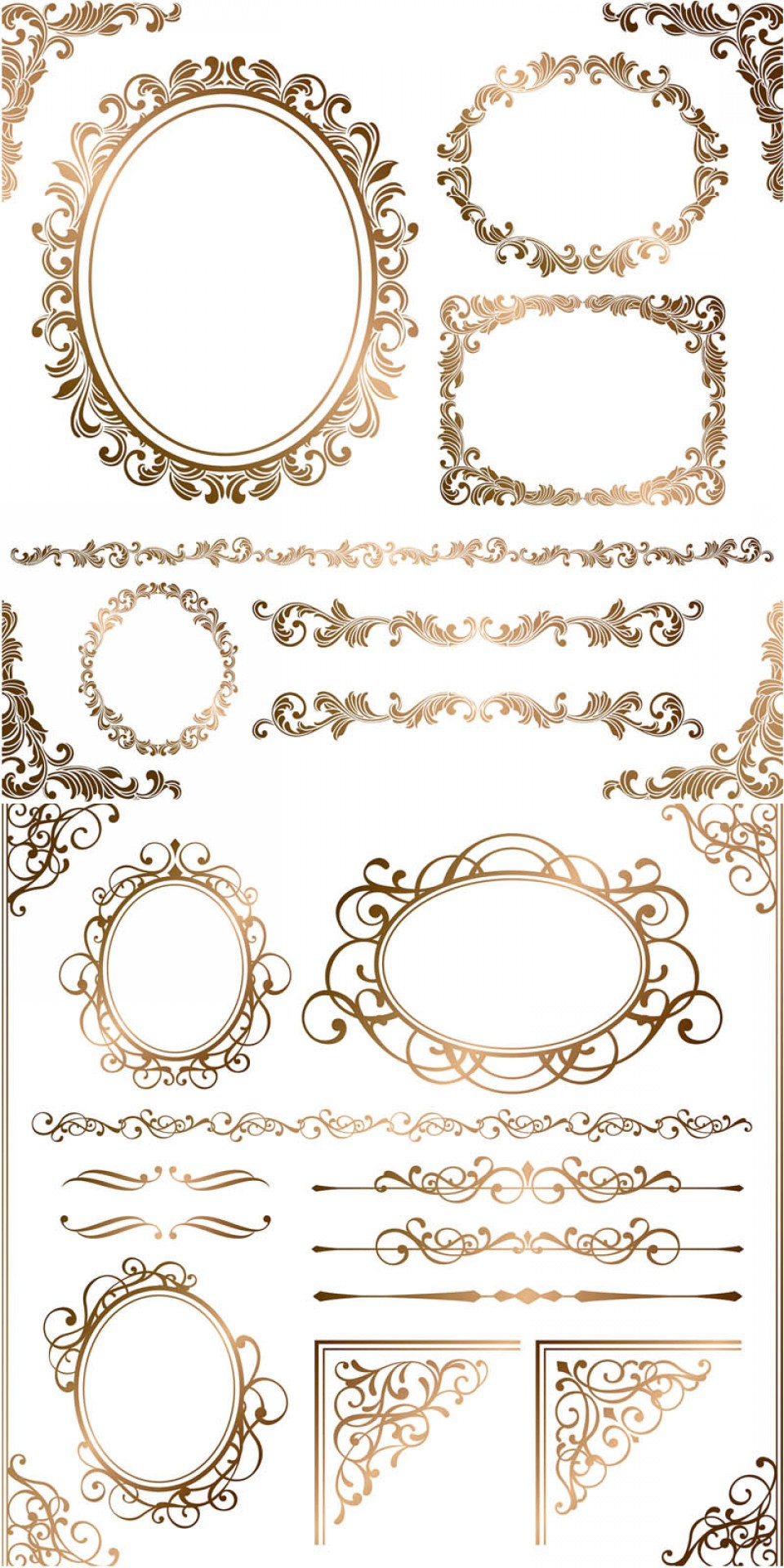 Gold Ornate Borders Vector: Baroque Floral Frames Corners And Borders Vector