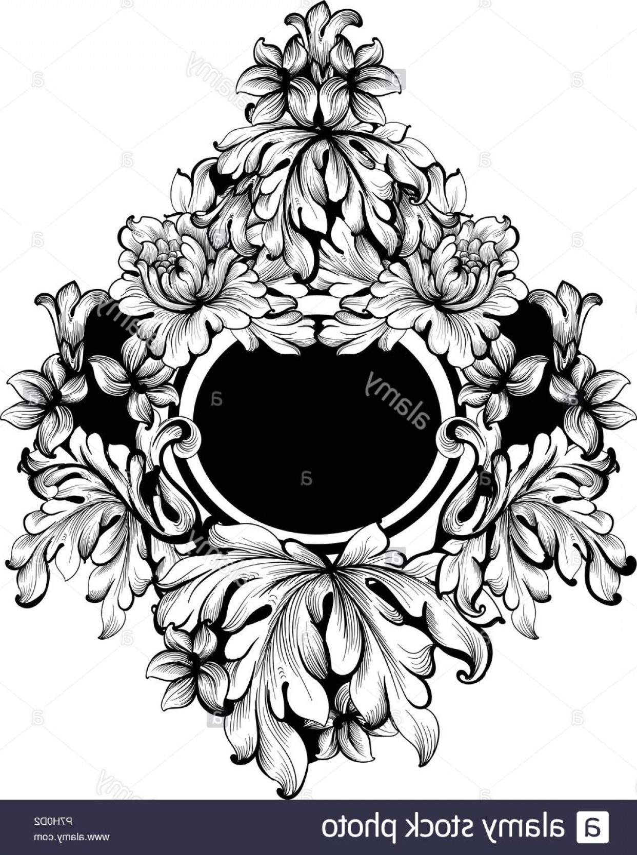 Rococo Frame Vector: Baroque Round Frame Vector Classic Rich Ornamented Carved Decors Rococo Sophisticated Design Image