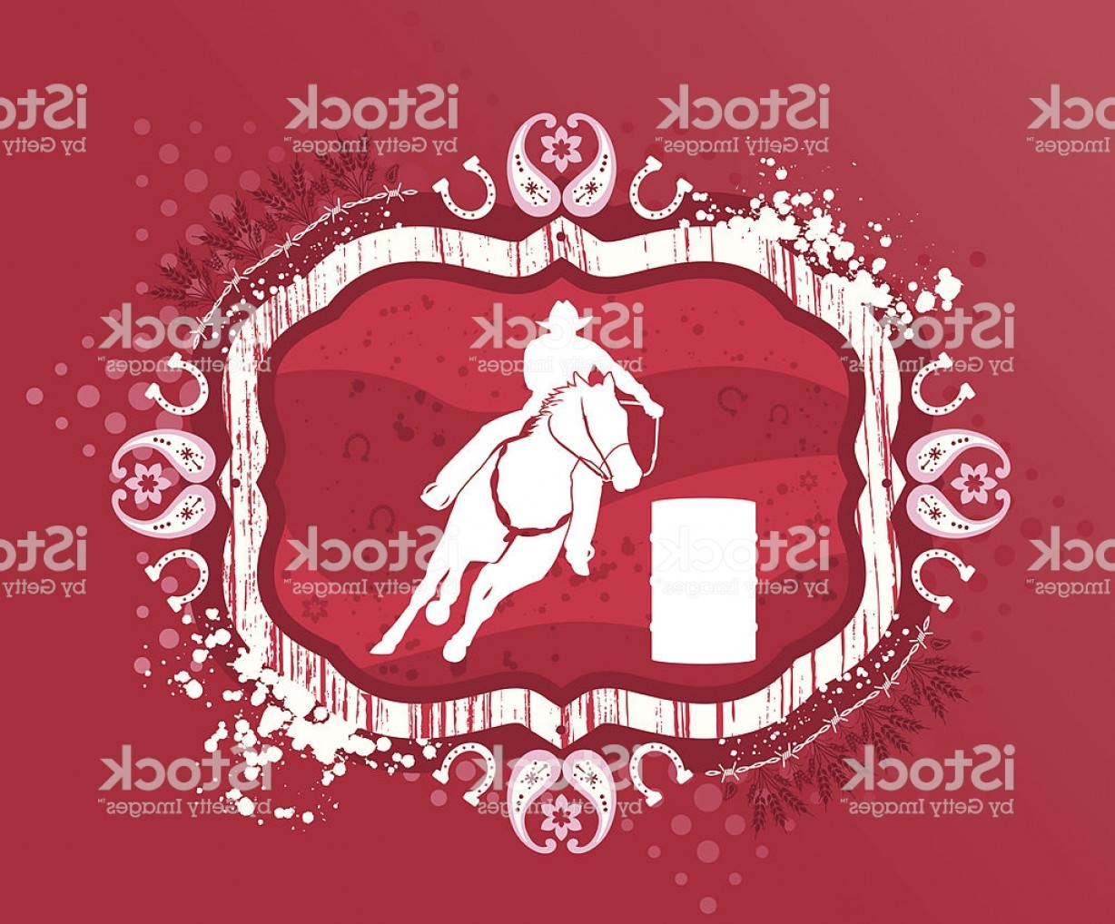 Barrel Racer Vector: Barrel Racer On Grunge Background Gm