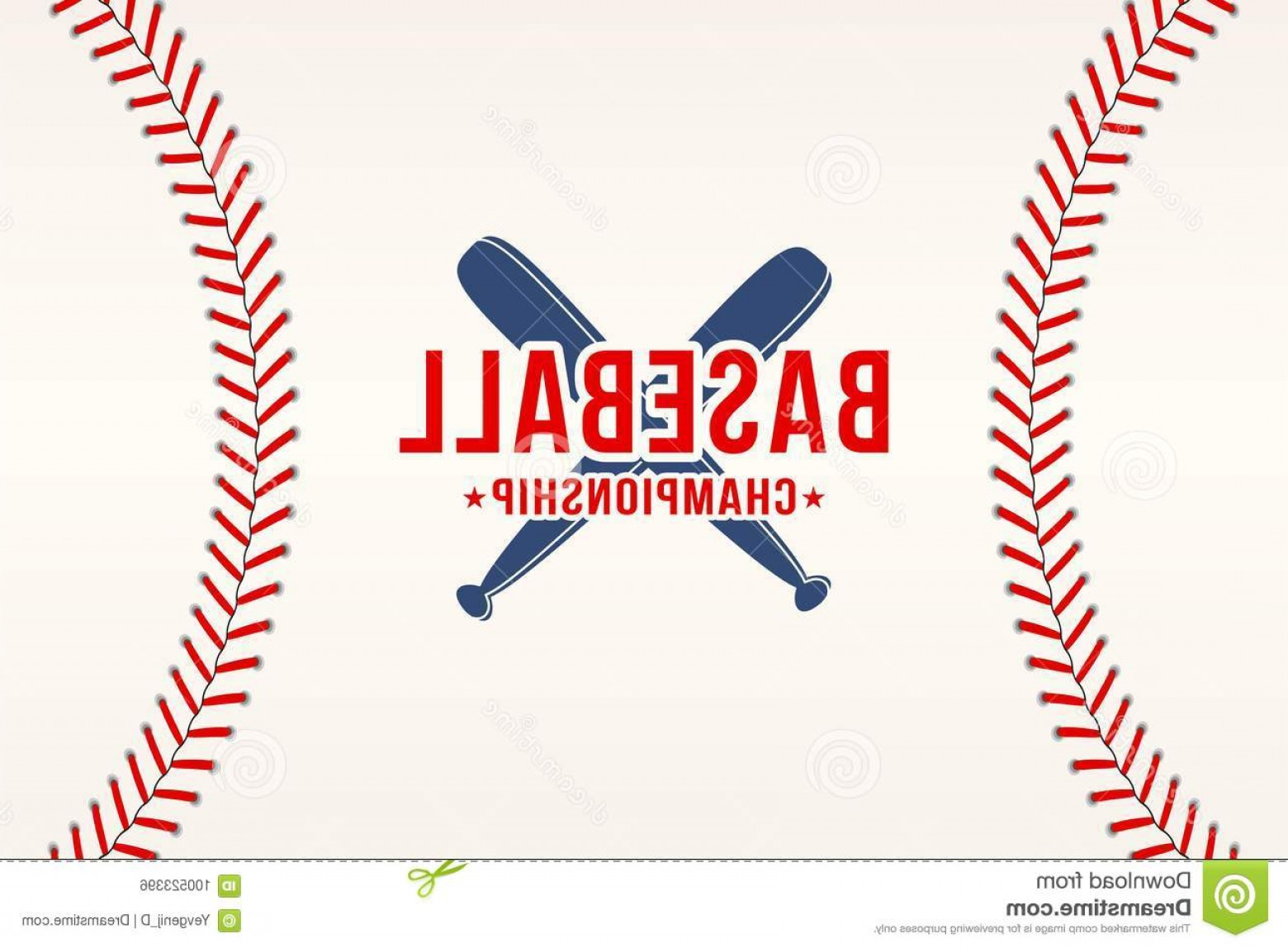 Vector Football Laces And Lines: Baseball Background Ball Laces Stitches Texture Bats Sport Club Logo Poster Design Vector Image