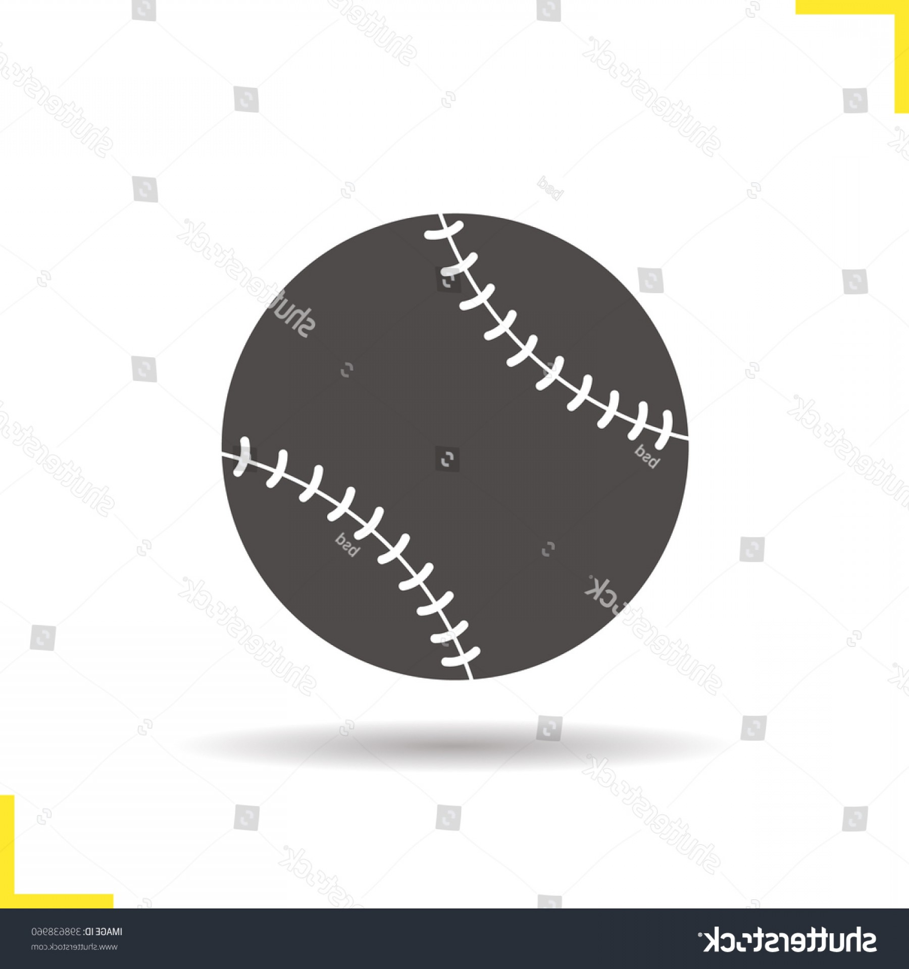 Neon Green Softball Stitches Vector: Baseball Ball Icon Softball Drop Shadow