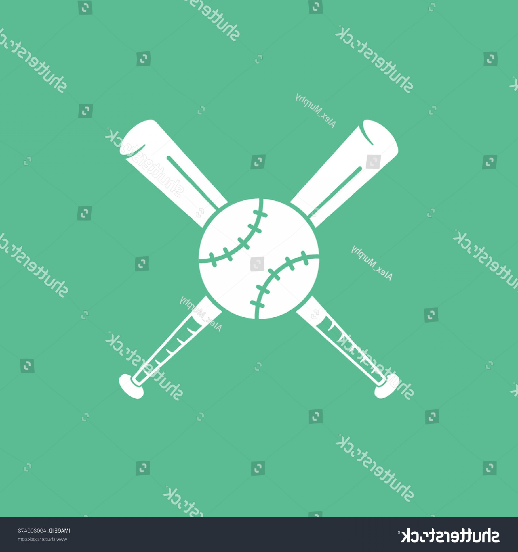 Vector Baseball Cross: Baseball Bat Cross Flat Icon On