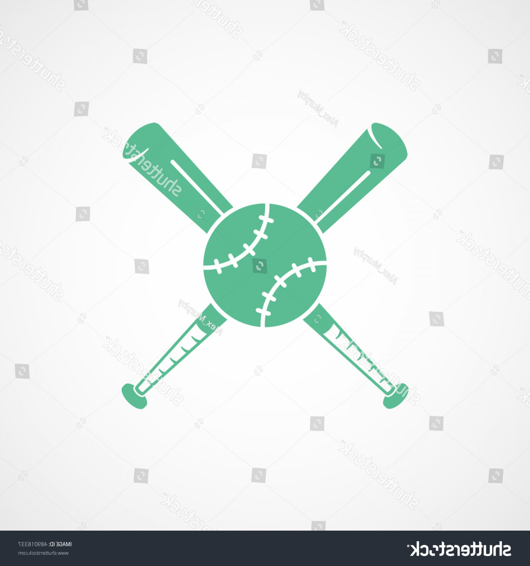 Vector Baseball Cross: Baseball Bat Cross Green Flat Icon