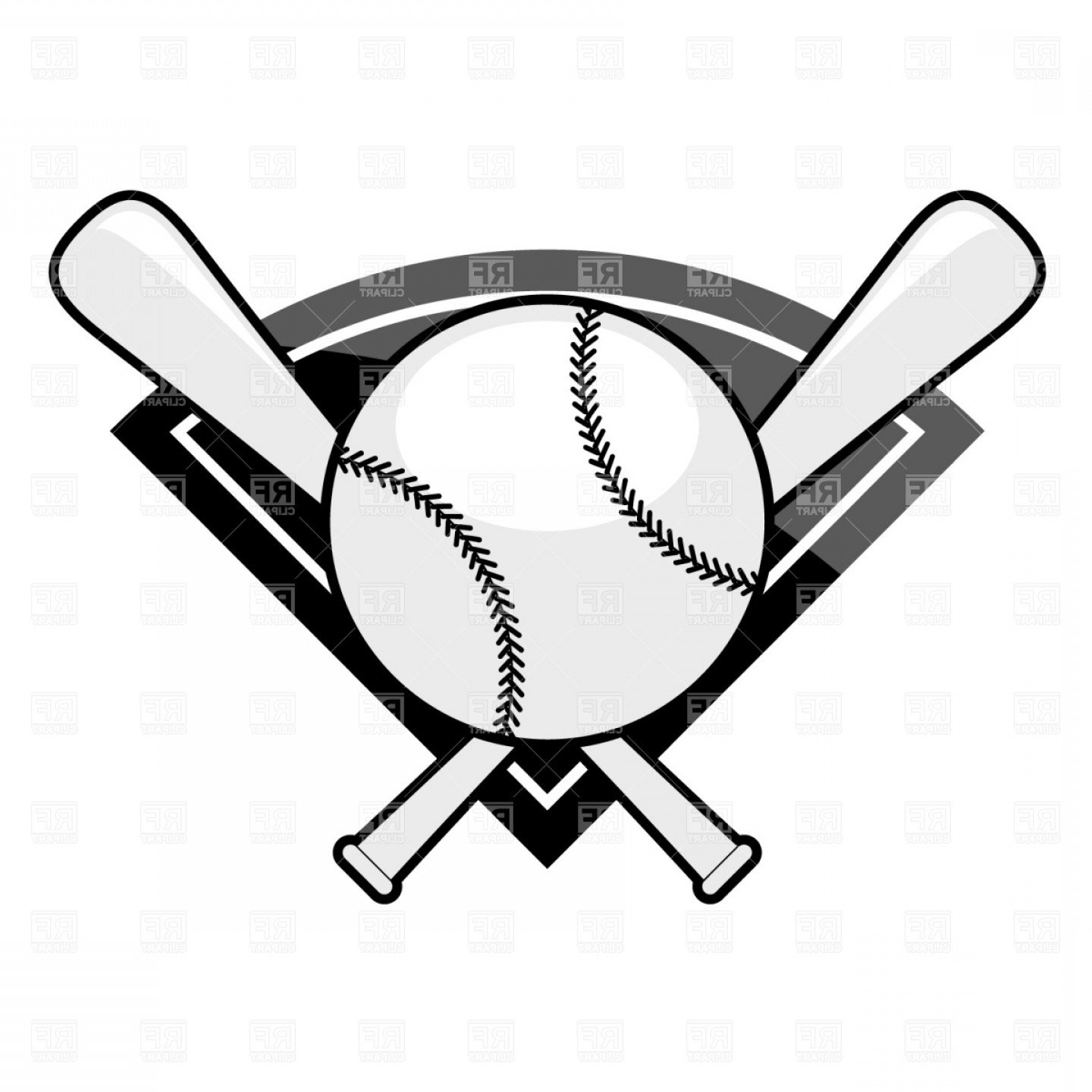 Black Diamond Vector Clip Art: Baseball Emblem Bat And Ball Vector Clipart
