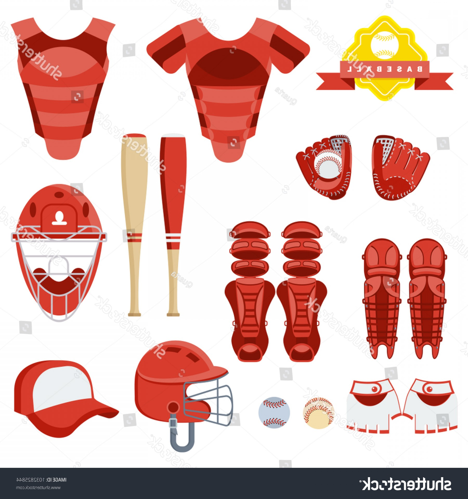 Softball Catcher Vector: Baseball Equipment Set Bat Ball Softball