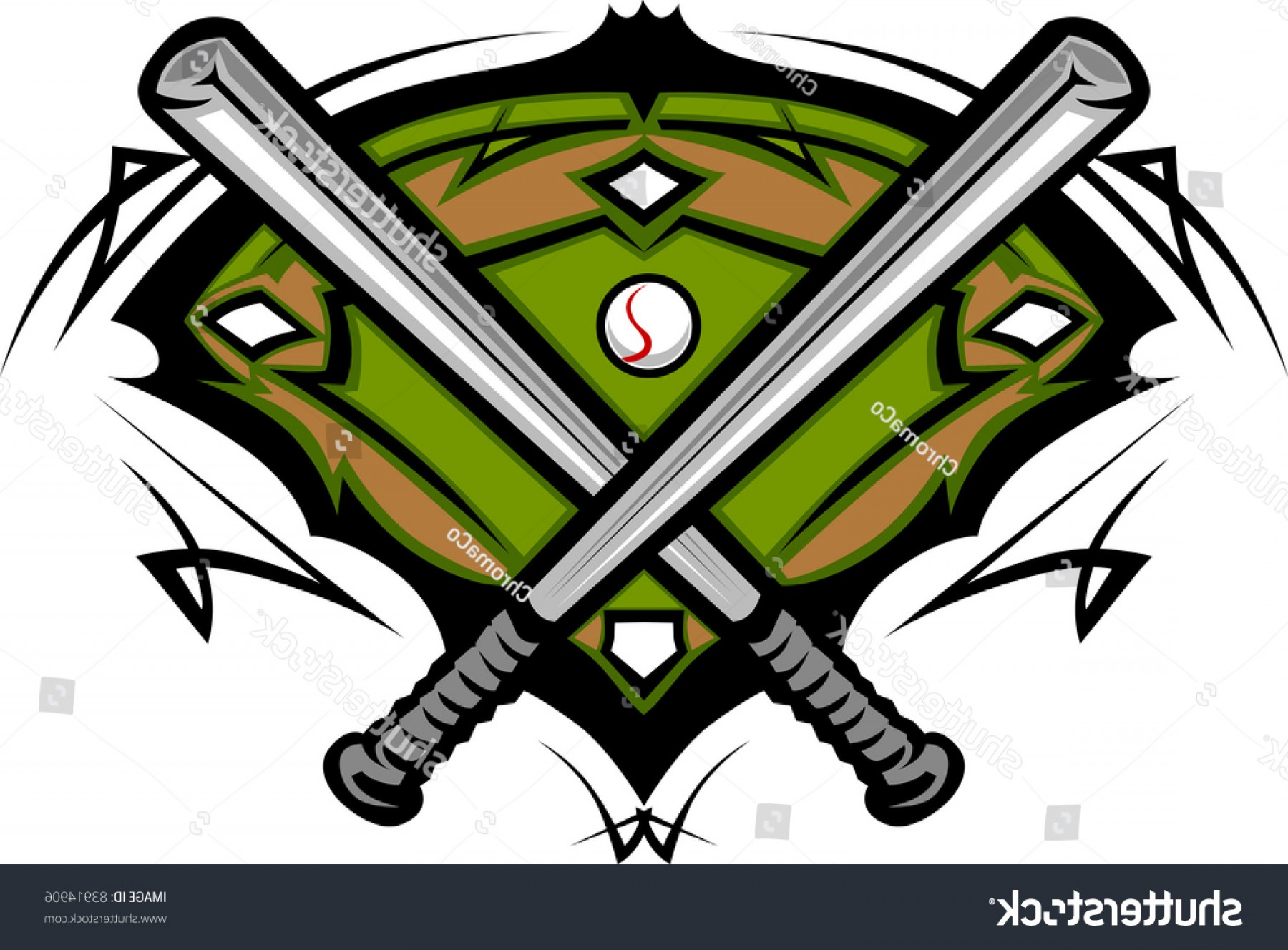 Softball Laces Vector Art B W: Baseball Field Softball Crossed Bats Vector