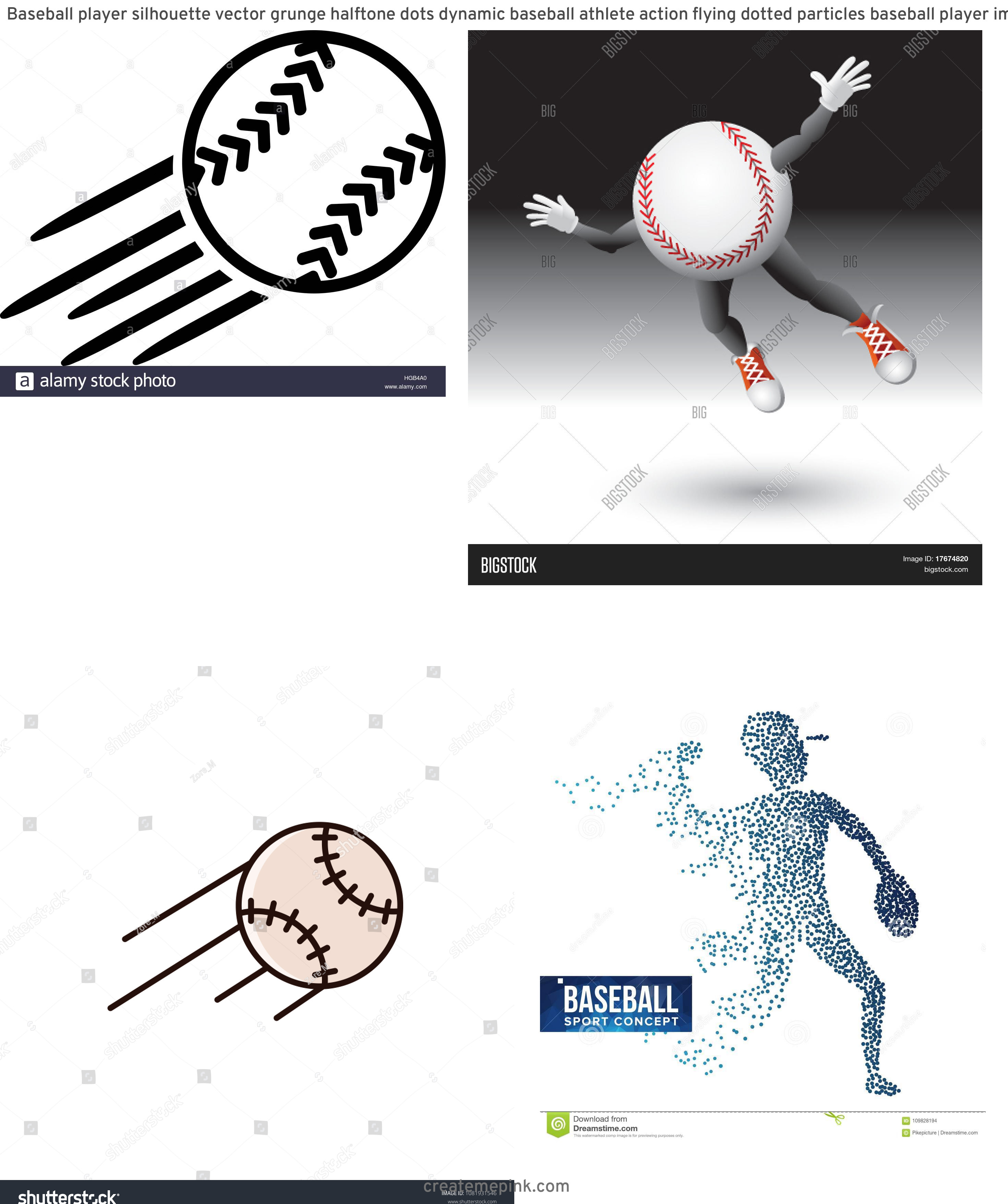 Flying Baseball Vector: Baseball Player Silhouette Vector Grunge Halftone Dots Dynamic Baseball Athlete Action Flying Dotted Particles Baseball Player Image