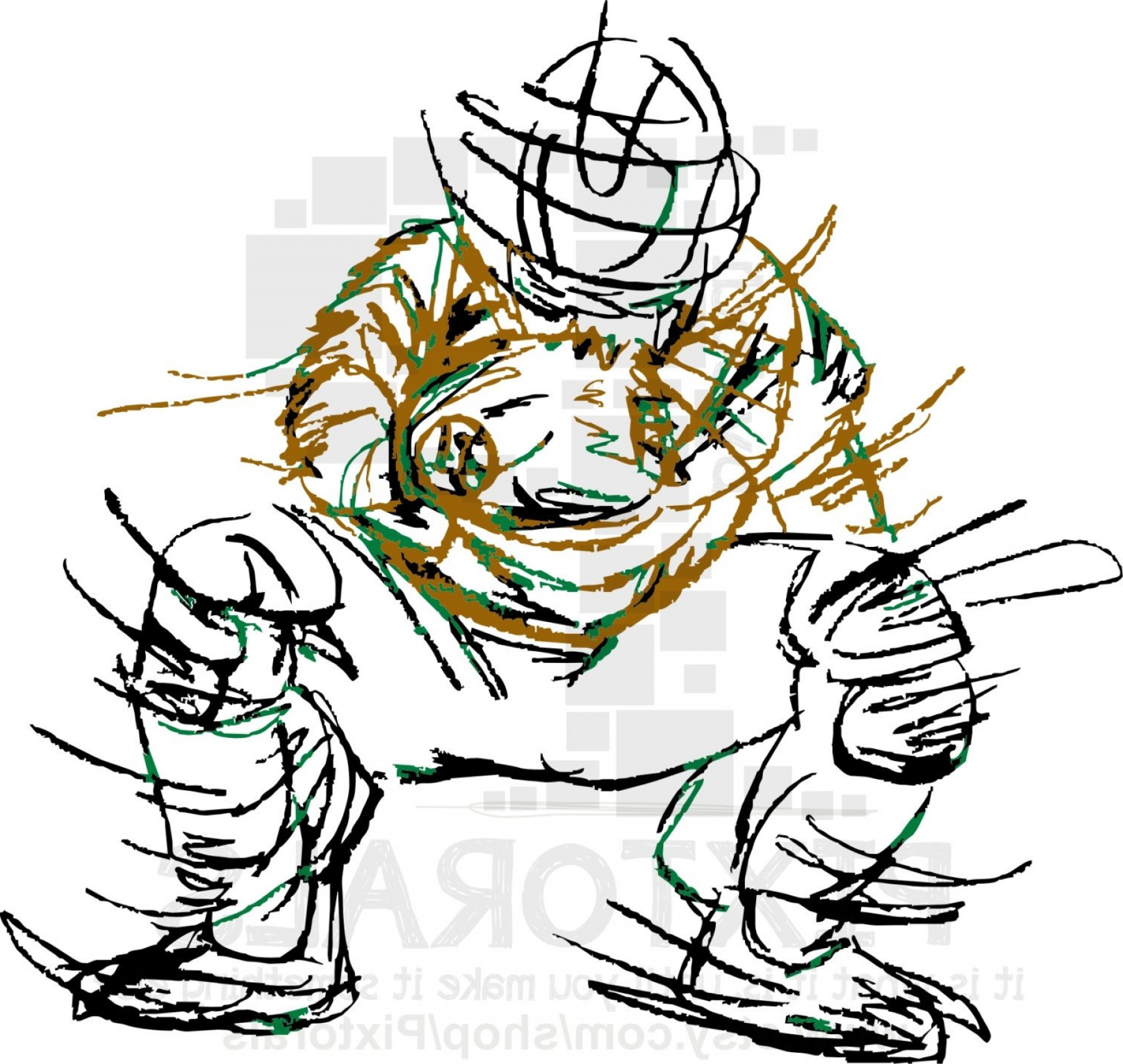 Softball Catcher Vector: Baseball Softball Clip Art Of The