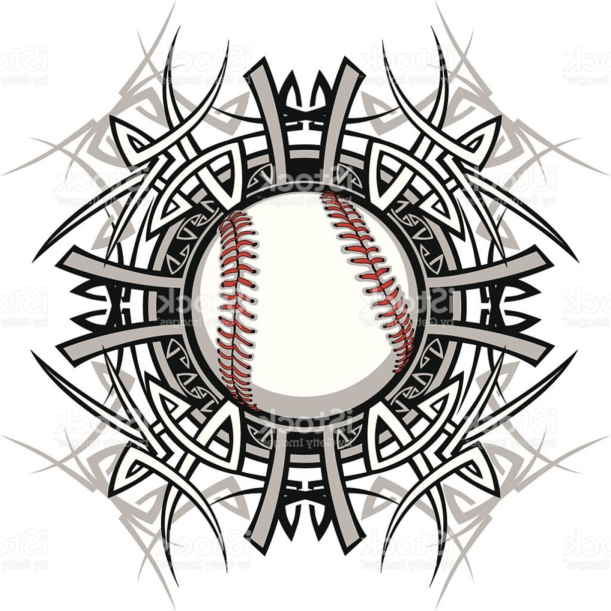 Softball Laces Vector Art B W: Baseball Softball Tribal Graphic Image Gm
