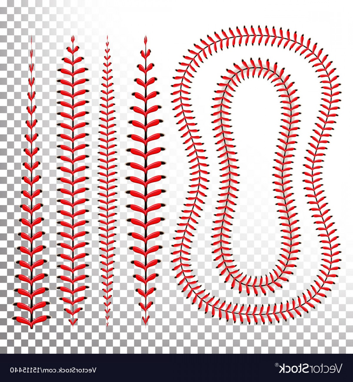 Vector Football Laces And Lines: Baseball Stitches Lace From A Baseball Vector