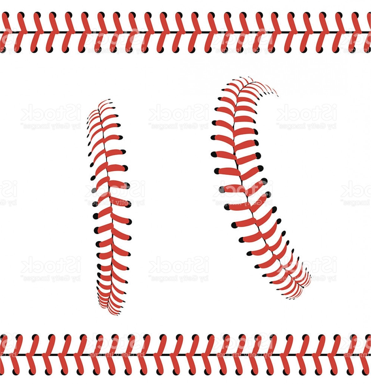 Softball Laces Vector Art B W: Baseball Stitches Or Laces Graphic Pattern Gm