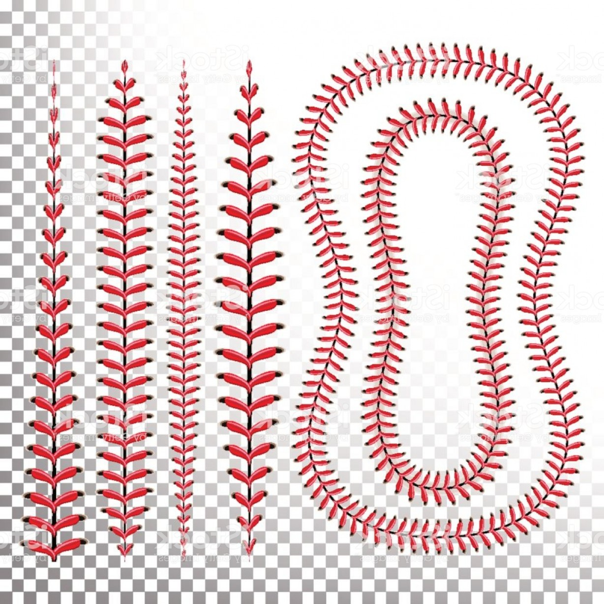 Laces Basball Vector: Baseball Stitches Vector Lace From A Baseball Isolated On Transparent Sports Ball Gm