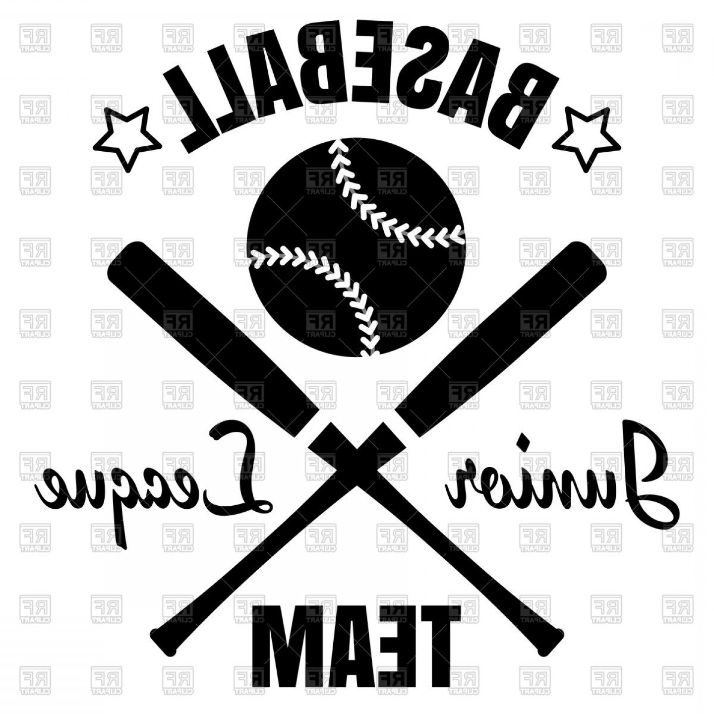 Vector Baseball Cross: Baseball Team Emblem Baseball Ball And Cross Baseball Bat Vector Clipart