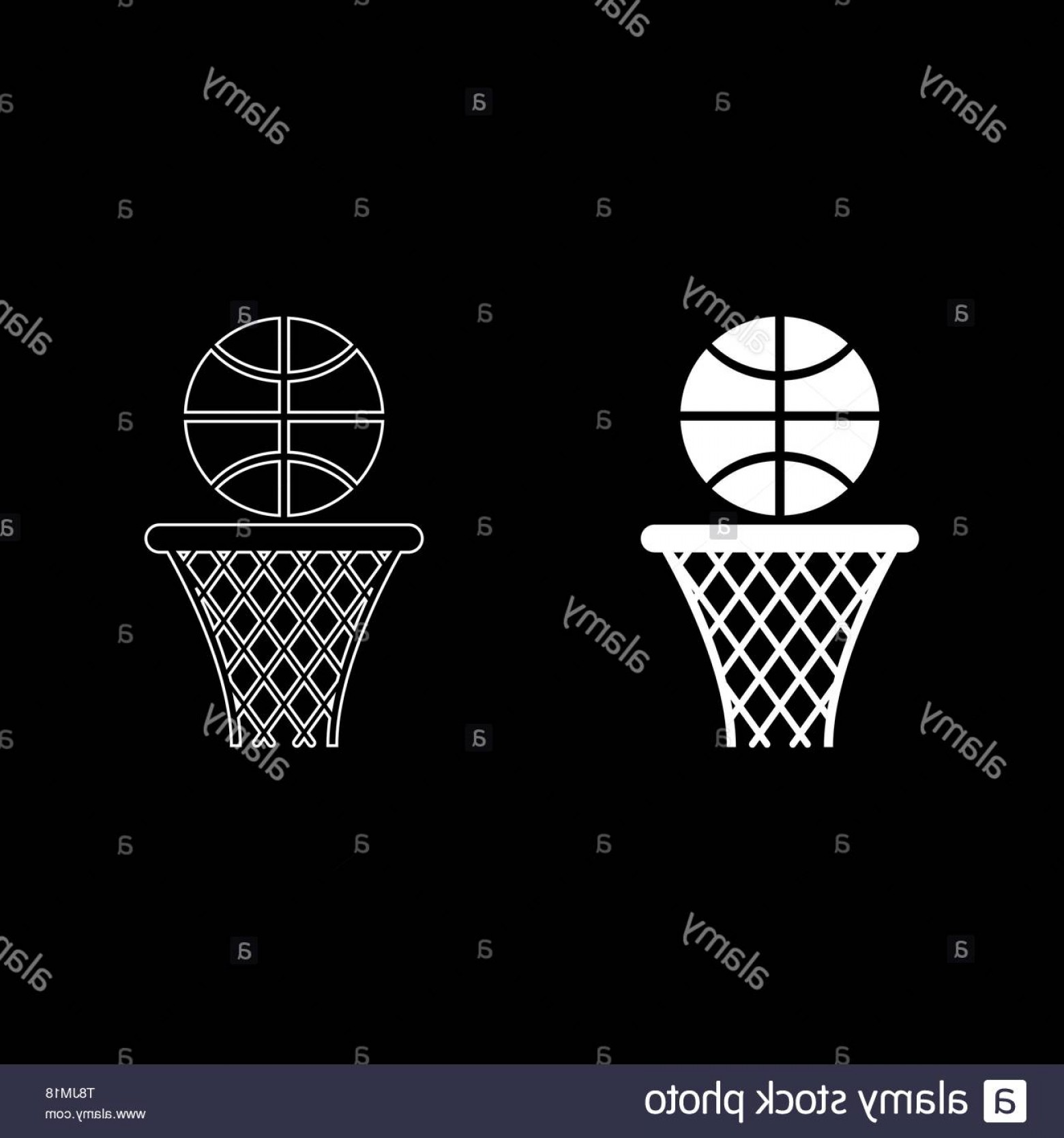 Color Basketball Outline Vector: Basketball Basket And Ball Hoop Net And Ball Icon Outline Set White Color Vector Illustration Flat Style Simple Image Image