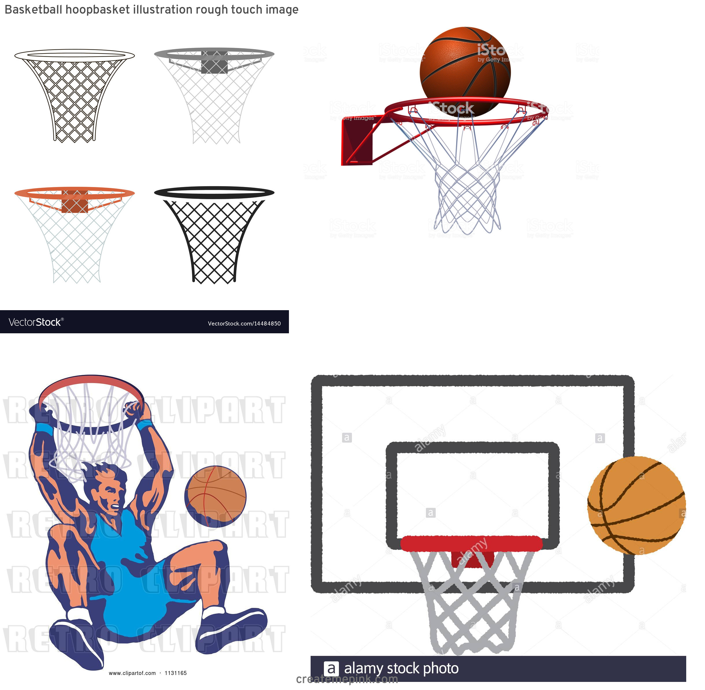 Basketball Vector Art In Hoop: Basketball Hoopbasket Illustration Rough Touch Image