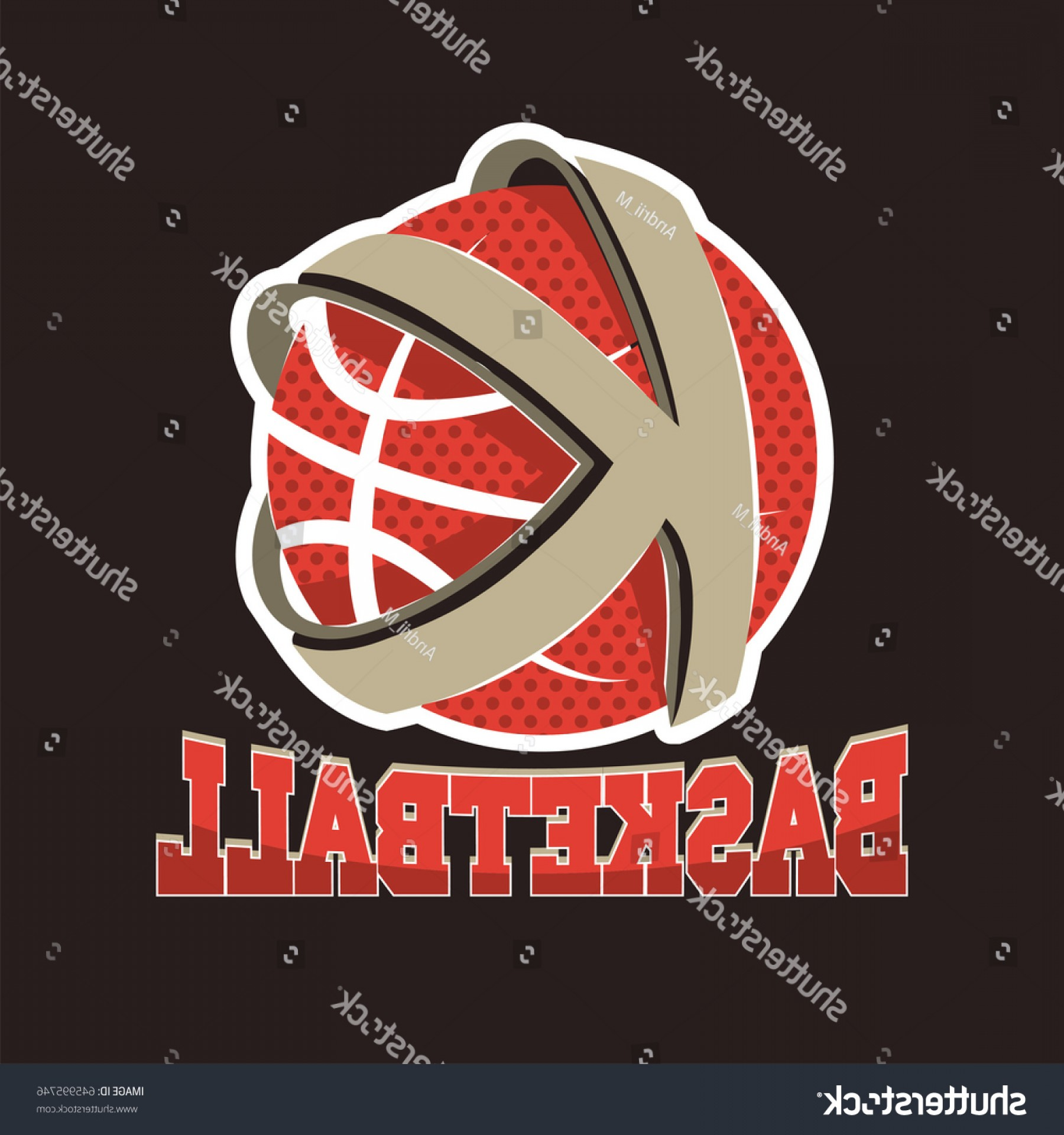 Basketball Seams Vector Clip Art: Basketball K Letter Team Championship Emblem