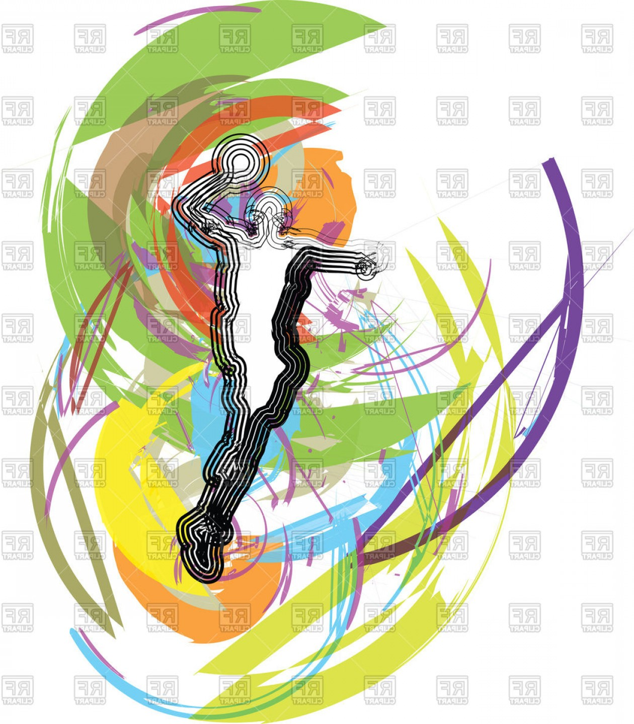 Basketball Vector Graphic Designs: Basketball Player Outline On Abstract Background Vector Clipart