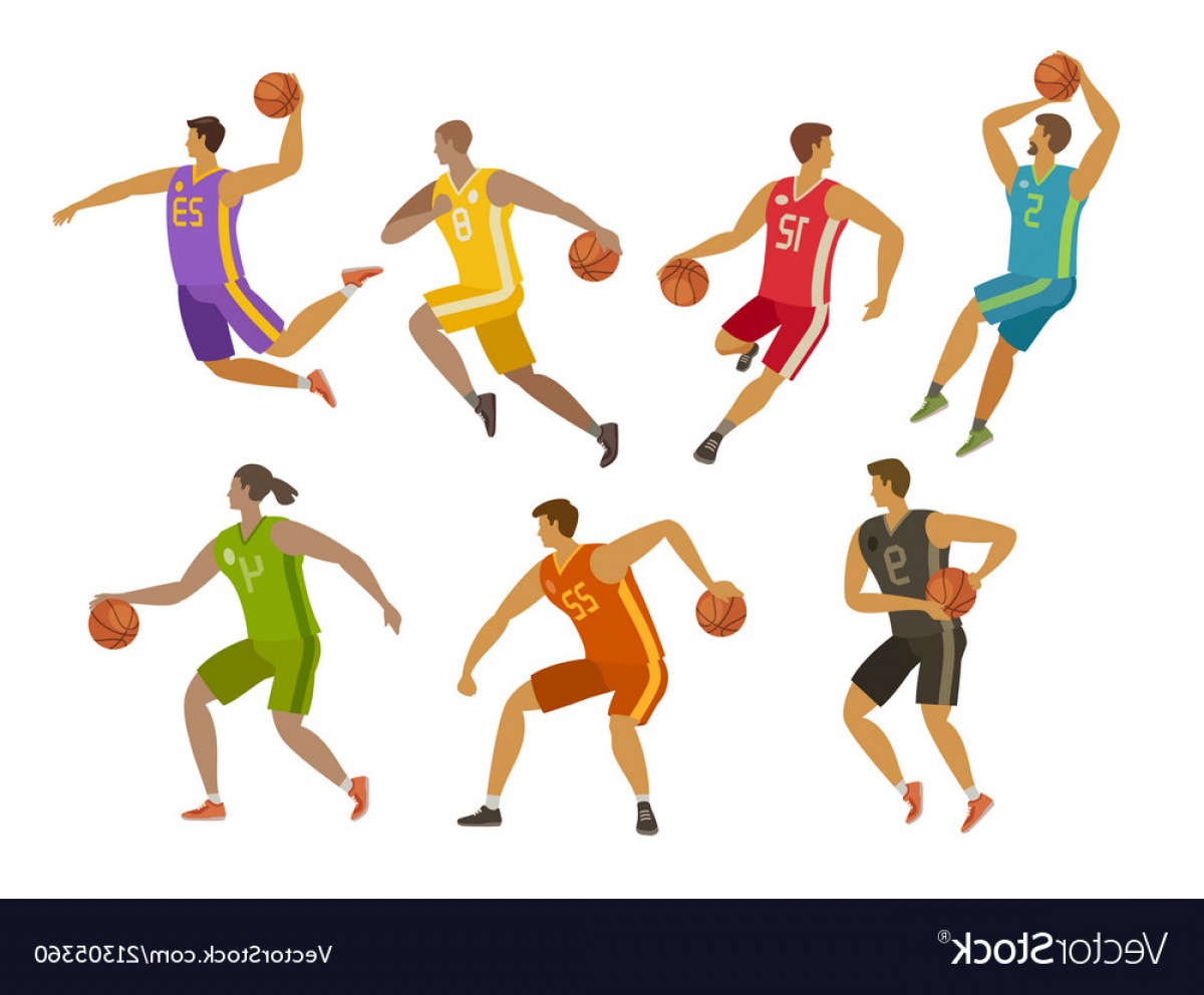 Cartoon Basketball Vector: Basketball Players Sport Concept Cartoon Vector