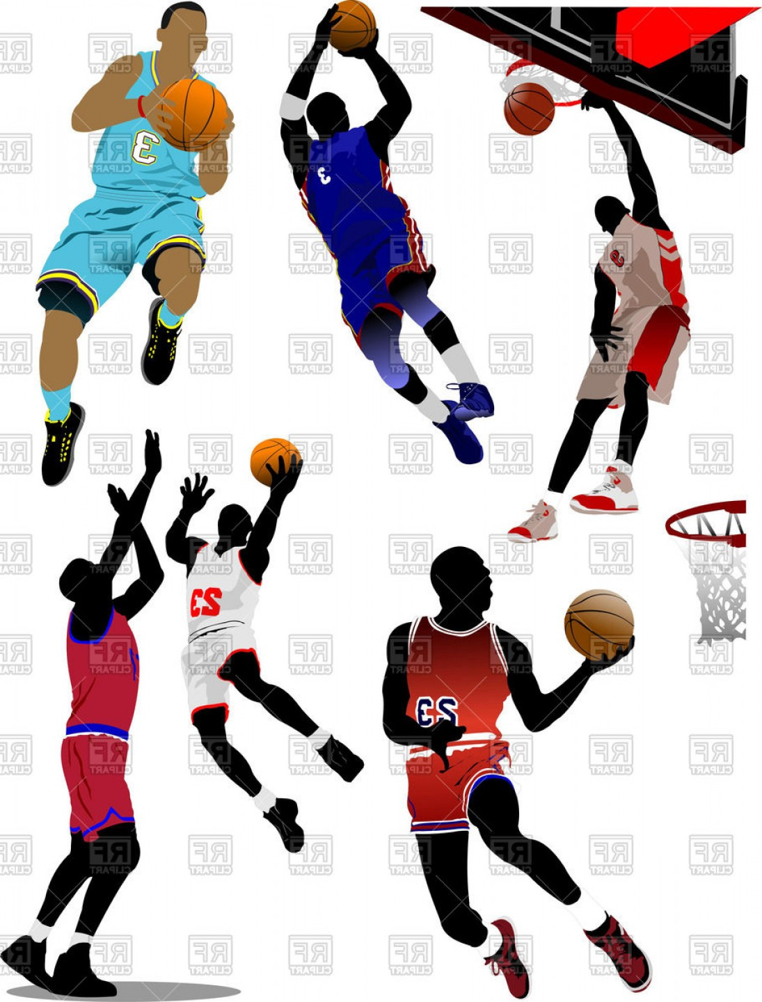 Motion Basketball Vector: Basketball Players With Balls In Motion Colorful Silhouettes Vector Clipart