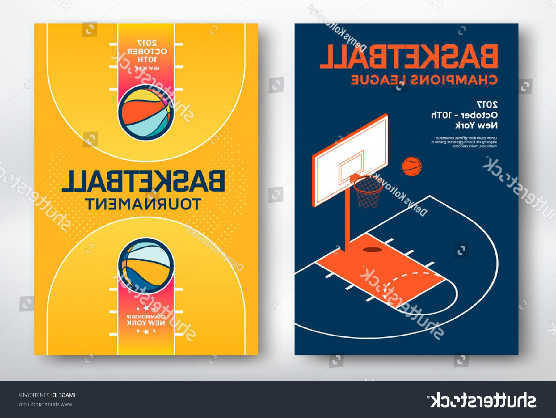 Vector Posters Design: Basketball Tournament Sports Posters Design Isometric