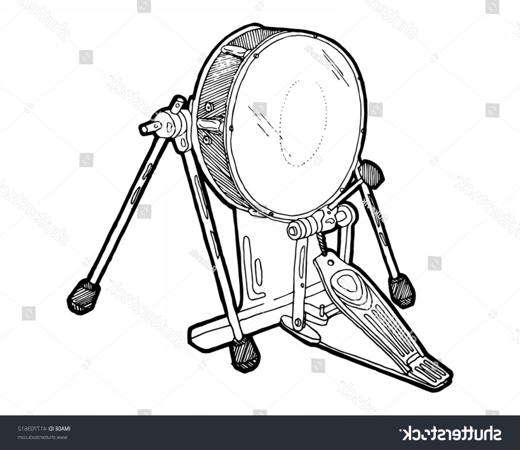 Vector Bass Drum Pedal: Bass Drum Pedal Sketch Drawing Isolated