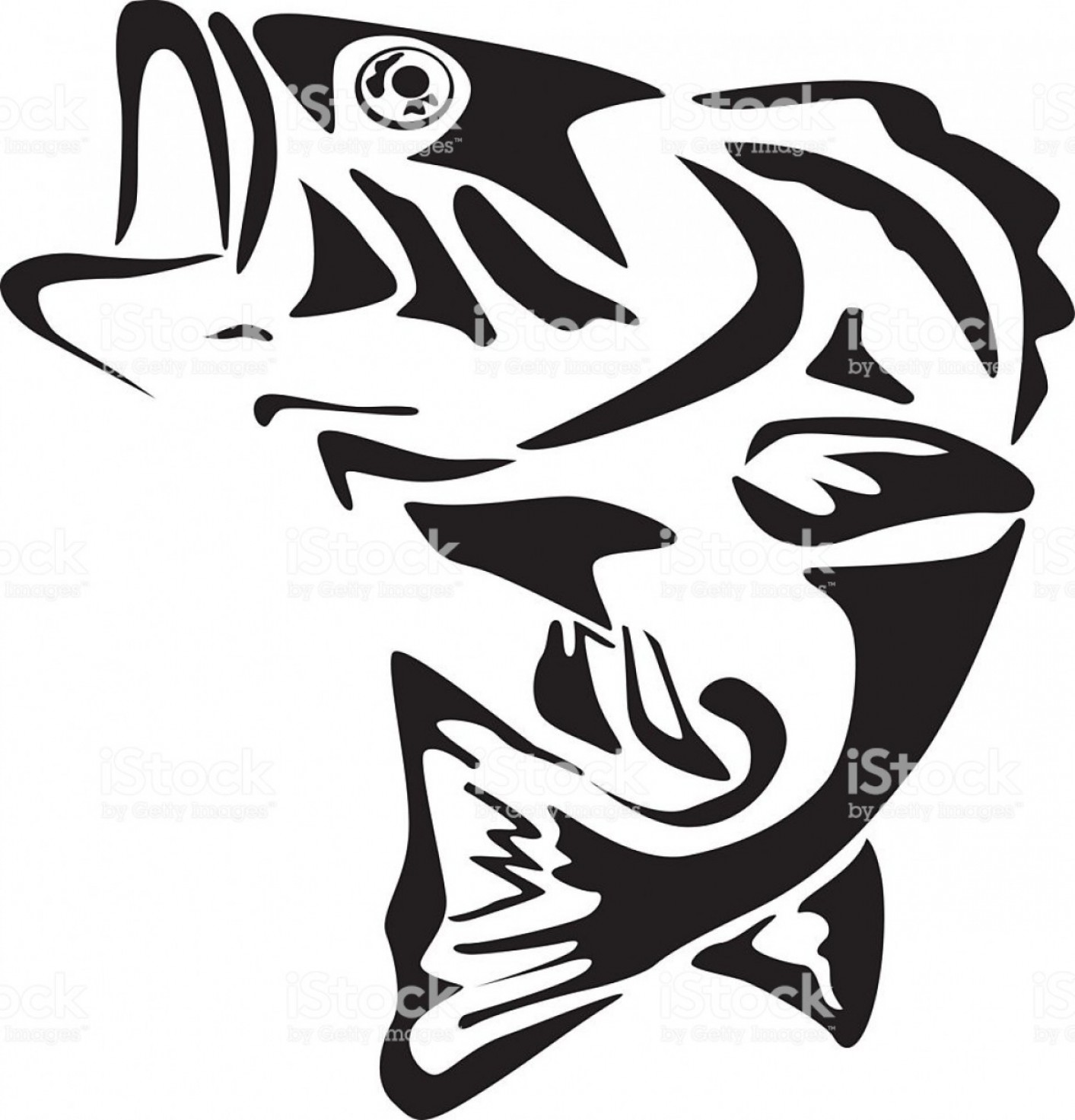 Largemouth Bass Silhouette Vector: Bass Fishing Clipart Black And White