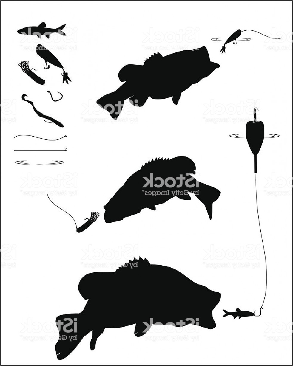 Largemouth Bass Silhouette Vector: Bass Fishing Silhouette Set Gm