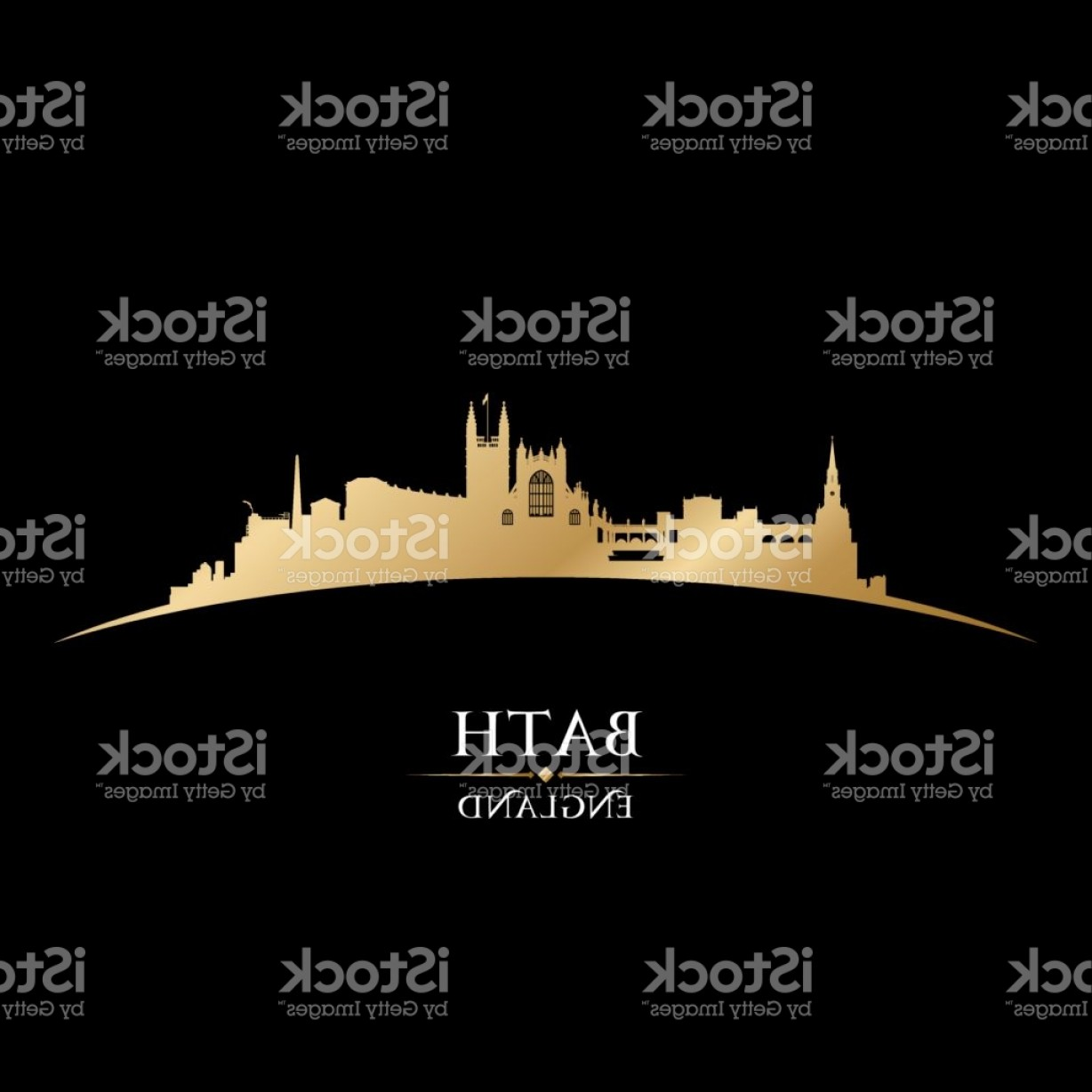 UK Skyline Vector: Bath Uk City Skyline Silhouette Gm