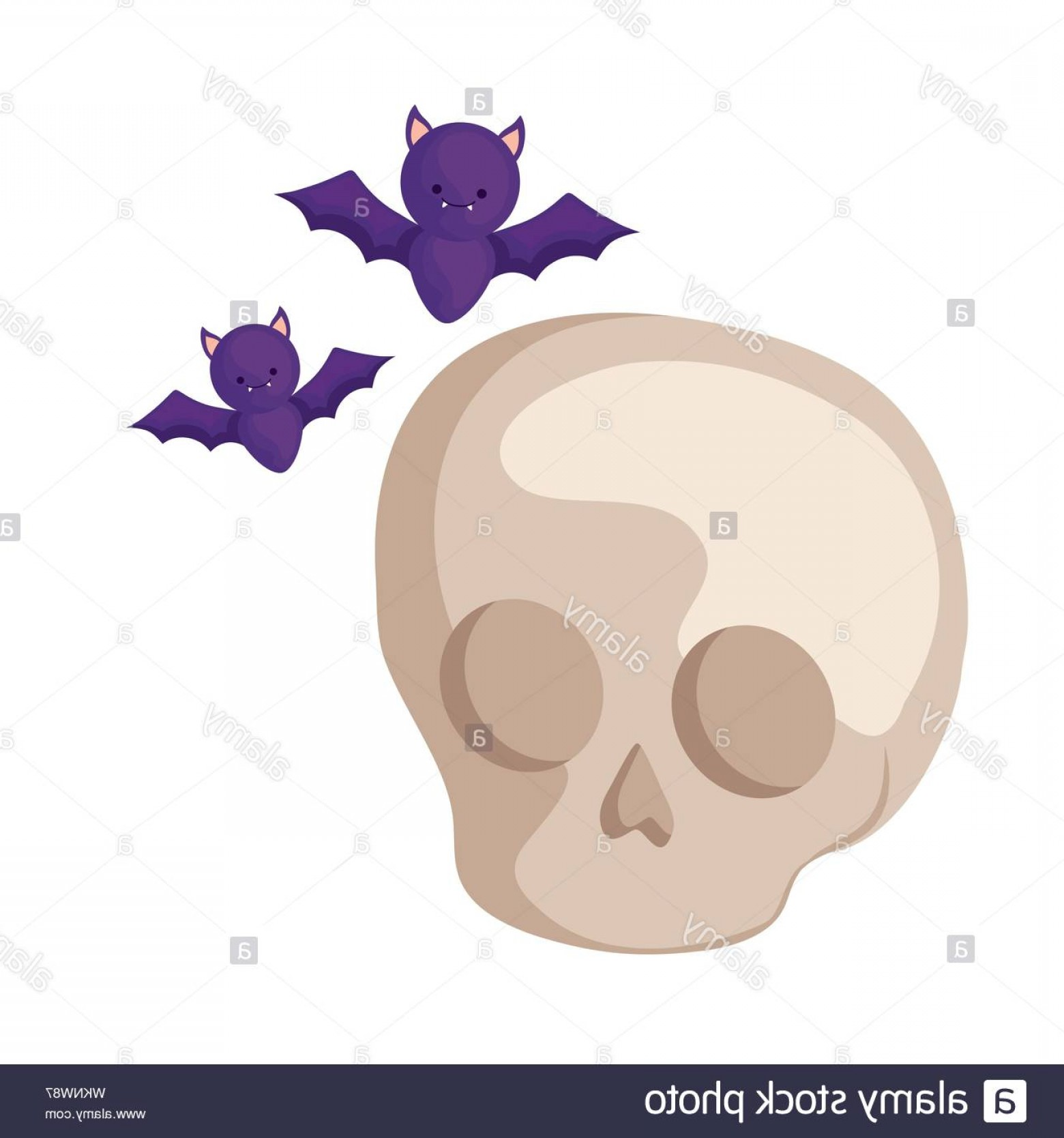 Flying Skull Vector: Bats Flying Halloween With Skull Vector Illustration Design Image