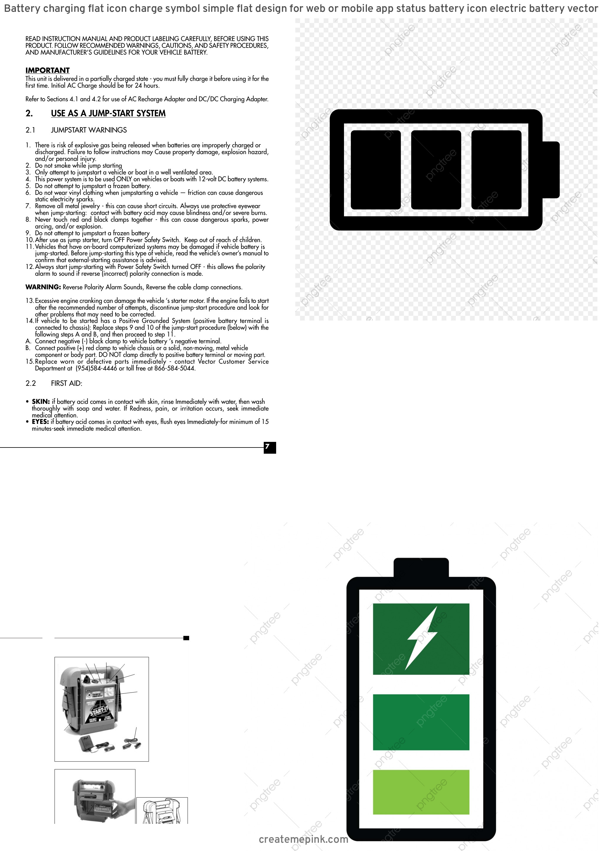 Vector Battery Charger Instruction Manual: Battery Charging Flat Icon Charge Symbol Simple Flat Design For Web Or Mobile App Status Battery Icon Electric Battery Vector