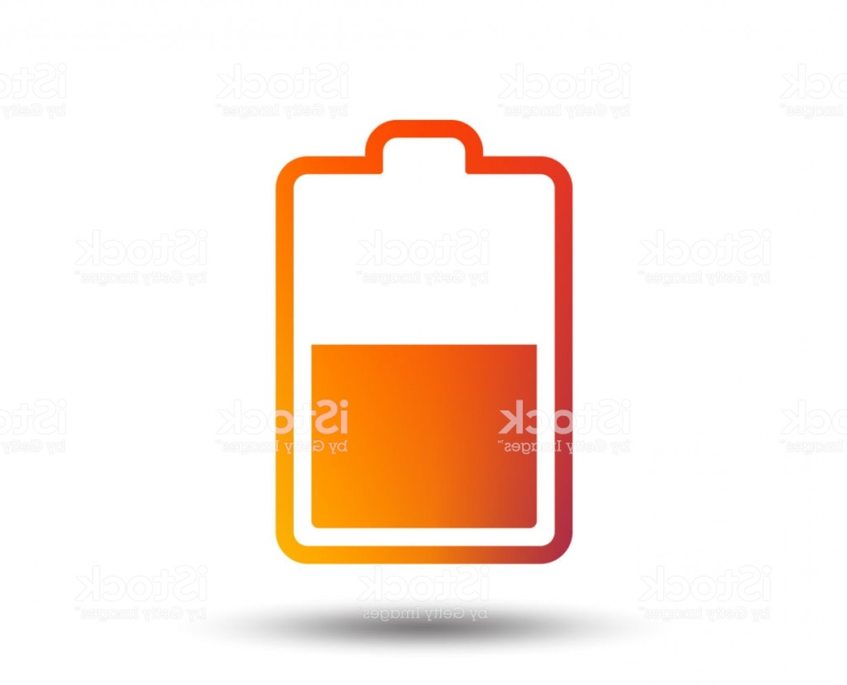 Battery Electricity Vector Images: Battery Half Level Sign Icon Low Electricity Gm