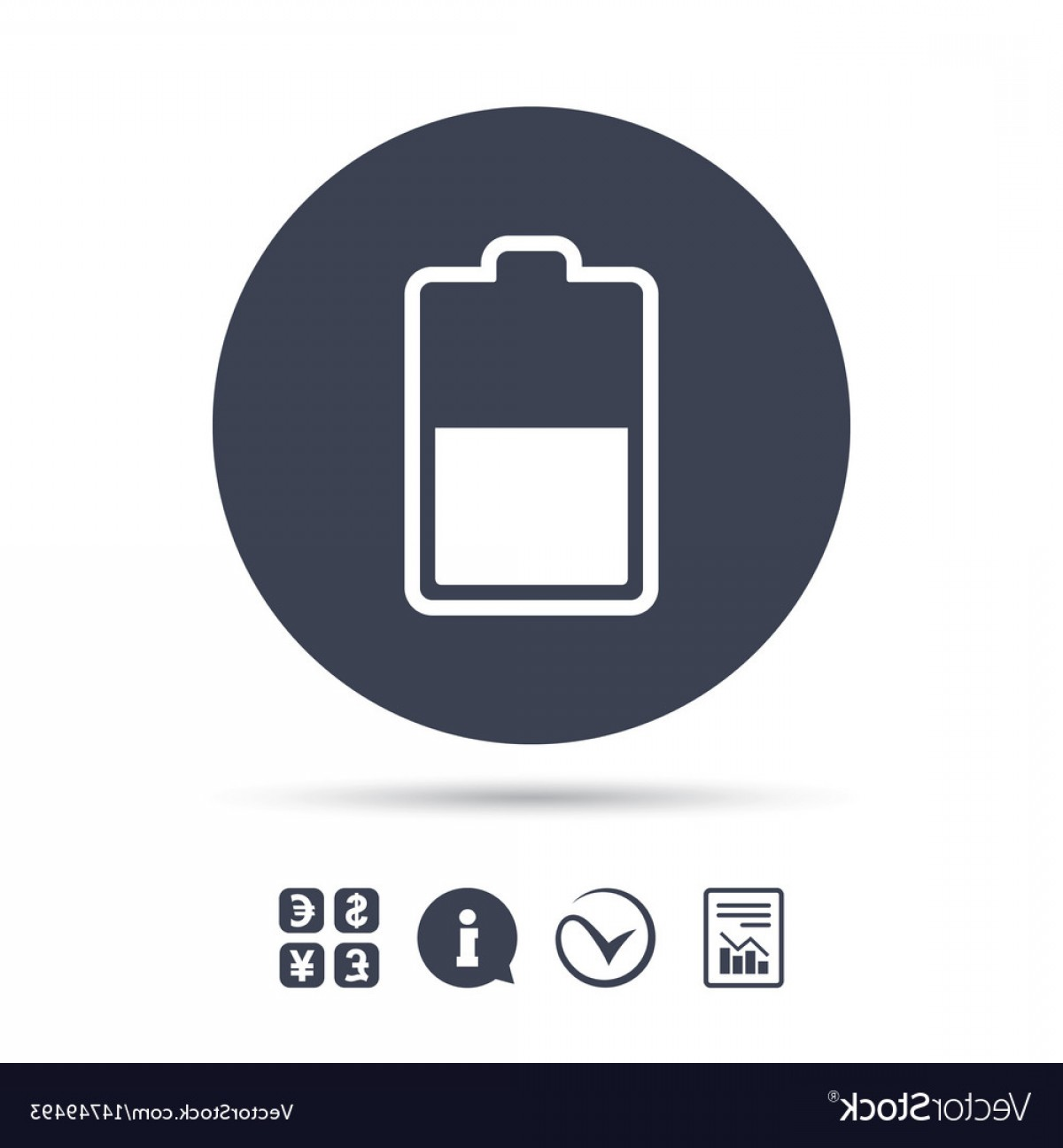 Battery Electricity Vector Images: Battery Half Level Sign Icon Low Electricity Vector