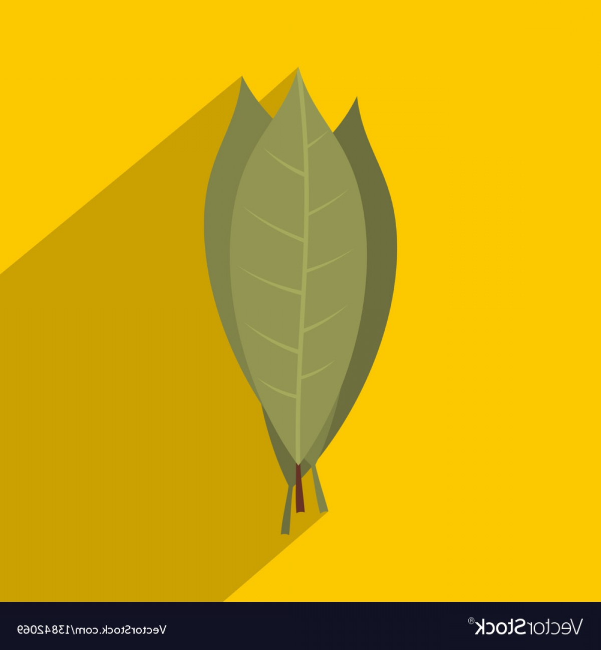 Green Bay Vector: Bay Laurel Leaves Icon Flat Style Vector