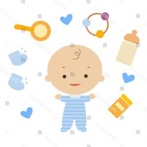 Vector Baby Item: Baby Boy Items Vector Illustration