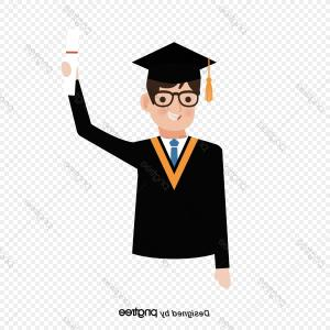 Graduation Clip Art Vector: Bachelor Graduate And Doctoral Students To Wear Clothes