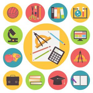 Free Vector Flat Education Icons: Set Of Flat Icons Of E Learning And Distance Education Vector Clipart