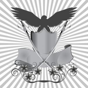 Vector Eagle Shield Sword: Engraving American Bald Eagle Shield And Ribbon Vector Clipart